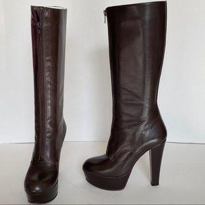 Marni Brown Leather Zip Front Platform Heel Boot 6